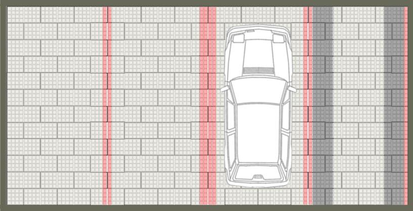 Calepinage pour parking gravier et pavés