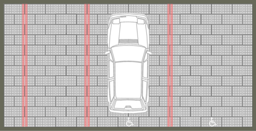 Calepinage pour parking drainant accessible PMR en pavés