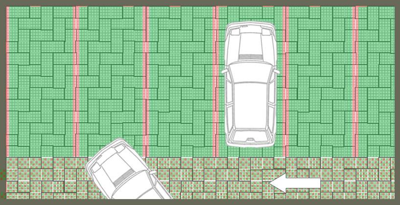 Parking perméable engazonné avec voie de circulation en damier pavés gazon