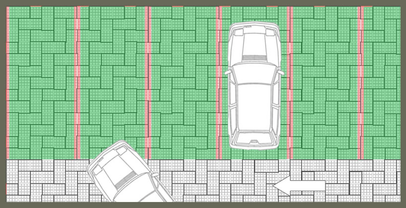 Parking perméable avec stationnements engazonnés et voie d'accès pavée