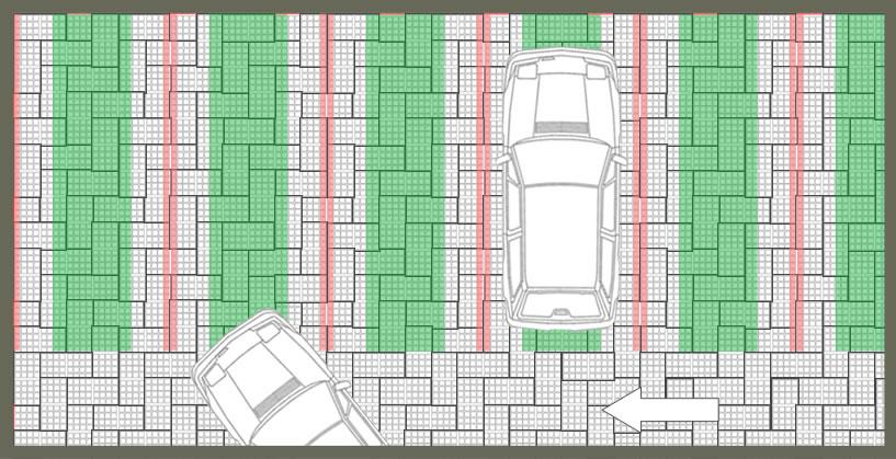Parking perméable remplissage mixte pavés gazon