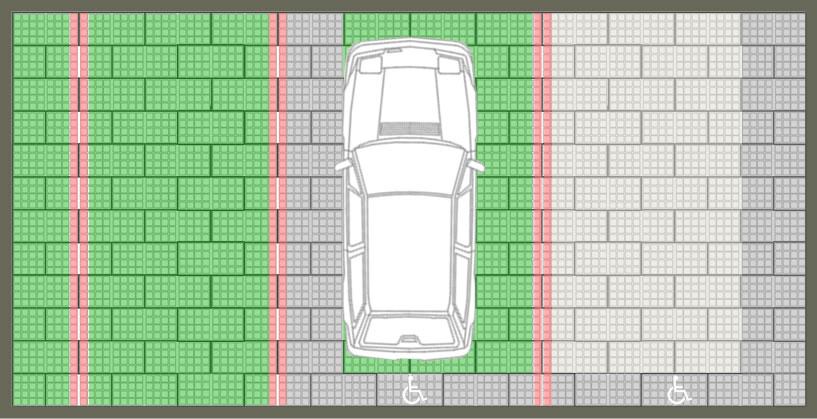 Stationnement PMR perméable accessible aux personnes à mobilité réduite, gazon et pavés
