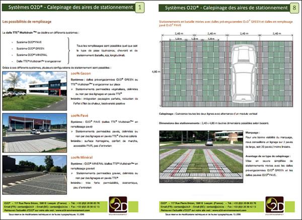 Calepinages des aires de stationnement avec la dalle TTE