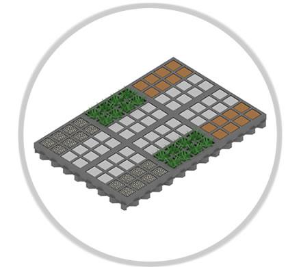 Une dalle alvéolée pour plusieurs types de remplissages
