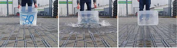Infiltration naturelle des eaux pluviales sur un revêtement drainant