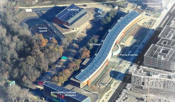 Parking de bâtiment tertiaire écologique pour un lycée
