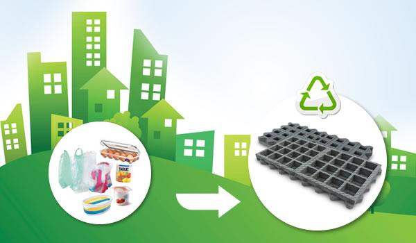 Eco-matériau dalle en plastique recyclé pour l'éco-construction