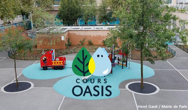 Cours oasis revêtement perméable et végétalisé